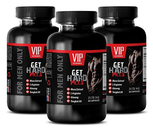Testosterone Booster for Men Sex Natural - GET Hard Pills (for Men ONLY) - Maca yohimbe - 3 Bottles 180 Capsules