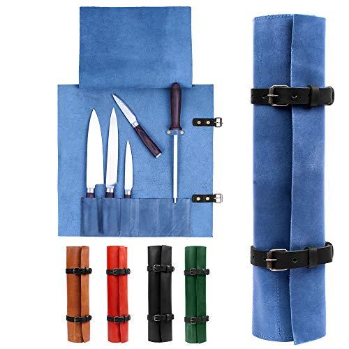 Karasto Leather Knife Roll Bag Portable Travel Tool Case Chef Knifes Cutlery Carrier Organizer Kitchen Storage Holder Blue