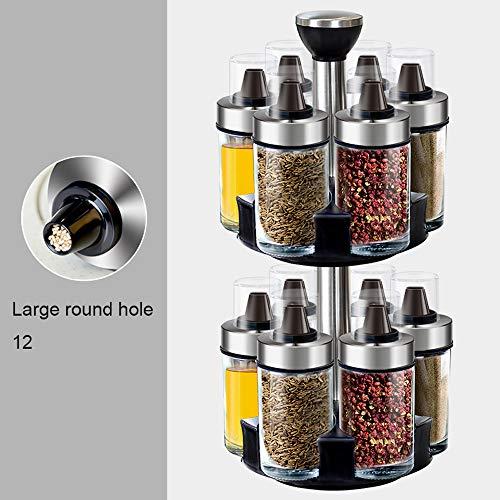 Hao-zhuokun Revolving RVS kruidenrek kruidenrek, glas kruiden fles, 2 Tier Vrijstaand, 13 stks set, ruimtebesparing