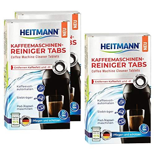 HEITMANN Kaffeemaschinen-Reiniger-Tabs - 10 Stück - Für Kaffeevollautomaten, Siebträger sowie für Pad- und Kapselmaschinen, 3er Pack