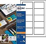 Avery C32010-25 - Biglietti da visita microperforati 185g/m² per stampanti a getto d'inchiostro/laser monocromo/fotocopiatrici 85 x 54 mm, 250 pz