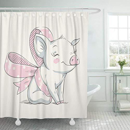 JOOCAR Design Duschvorhang, rosa Schwein, süßes Schweinchen mit Schleife, Cartoon-Baby-Feier, Grußkarte & Ferkel, Tier, wasserdichter Stoff, Badezimmerdekor-Set mit Haken