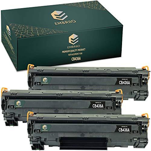 EMBRIIO 3X CB436A 36A Cartucho Tóner Reemplazo para HP Laserjet P1505 P1505n P1506 M1120 MFP M1120n MFP M1520 M1522n MFP M1522nf MFP Canon i-SENSYS LBP-3250