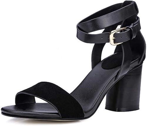 schuhe damen 2018 Nuevas sandalias de tacón Alto damen Gruesa con Hebilla de cinturón Sandalias de Punta Abierta
