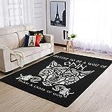IOVEQG Area Rugs Viking Wolf of Odin, alfombra de yoga ultra suave, para habitación de bebé, 122 x 183 cm, color blanco