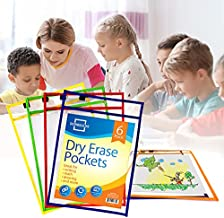 Scribbledo Dry Erase Pockets, 6 Pack Reusable Dry Erase Sleeves with Marker Holder, Colorful Dry Erase Pocket Sleeves for School or Work, Assorted Colors Sheet Protectors and Ticket Holders