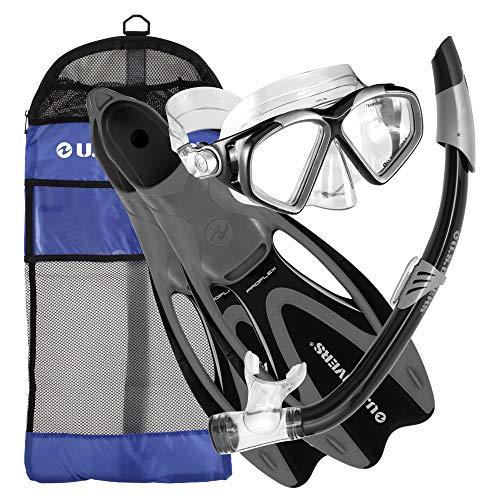 U.S. Divers Adult Cozumel Mask, Seabreeze II Snorkel, Proflex Fins, and Gear Bag Set