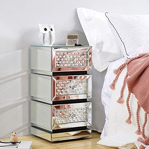 Mirrored Diamond Glass Bedside Cabinet Unit with 3 Storage Drawer and Crystal Handles Nightstand Side End Table for Living Room Bedroom Furniture