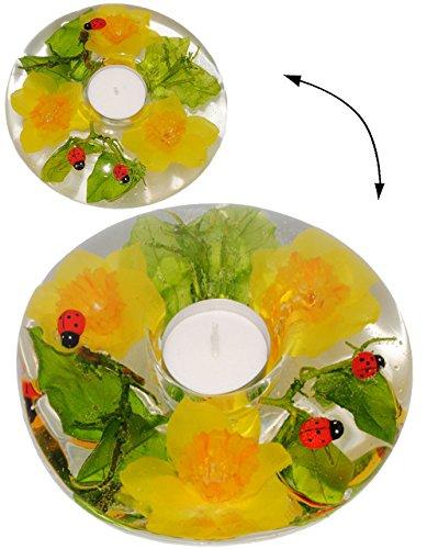 alles-meine.de GmbH 3-D Effekt - Teelichthalter -  Blumen & Marienkäfer  - aus Glas - mundgeblasen - Ø 15,5 cm Handarbeit aus Deutschland - runder Kerzenhalter / Teelichtgläser..