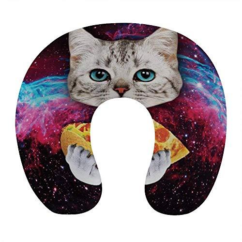 Transpirable Cómodo Galaxy Space Gatito Gato Eat Taco Pizza Almohada para el Cuello Espuma de Memoria Suave Almohada de Viaje en Forma de U para avión Oficina en casa Coche