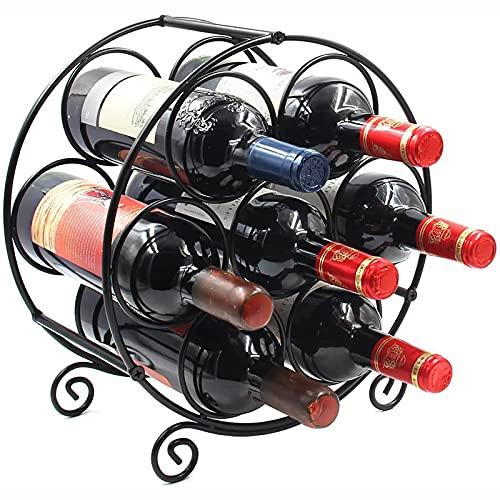 HFZY 7 Botellas Estante de Vino de Metal de pie, Estante de Almacenamiento de Licor de encimera, Titular de la Mesa de Vino Organizador Stand para Cocina DE CASA