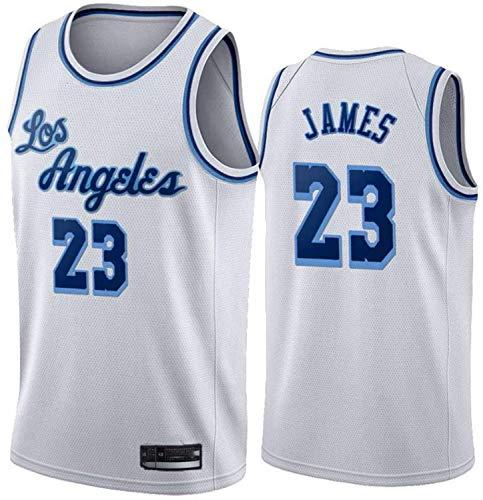 YCJL Camisetas para Hombre - NBA Lebron James # 23 Lakers - Camiseta De Baloncesto Retro Tejido De Malla Transpirable Sin Mangas Ropa Deportiva De Entrenamiento,Blanco,XL:180~185cm/85~95kg