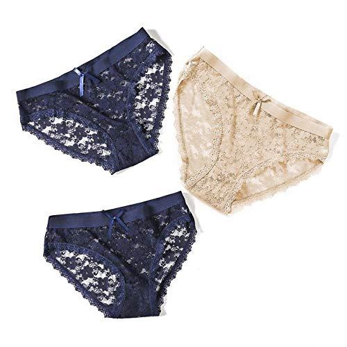 3PCS / Set Damen Spitzenhöschen Unterwäsche Dessous Damen Slips Unterhose mit niedriger Taille für weibliche Mädchen Höschen Floral-E_M