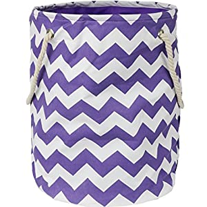 Modern Littles Standing, Folding Laundry Basket, Purple Chevron – Collapsible Bin for Toys – Bedroom Organizer – Foldable Bin with Large Capacity. Adult and Kids Kid's Room Décor