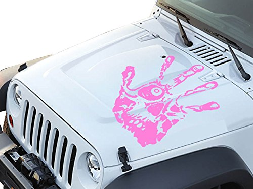 """FGD Hand Print Skull Face Hood Decal Sticker Graphic 23.5""""x24"""" (Hps2422) Universal Fits: Car Truck SUV and Jeep (Pink)"""