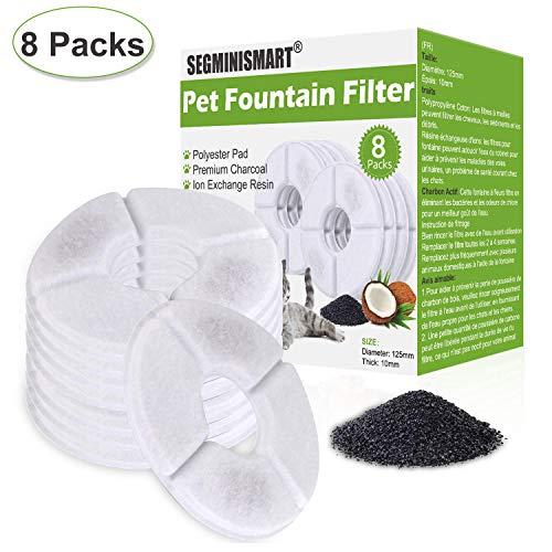 SEGMINISMART katzentrinkbrunnen Filter,Ersatzfilter für Trinkbrunnen für Katzen und Hunde, Katzenbrunnen Blumentrinkbrunnen Wasserbrunnen Filters mit Aktivkohlefilter (8 Pack)
