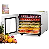 Kwasyo Food Dehydrator Machine, 6 Layers ALL Stainless Steel, 24H Adjustable Timer & Temperature Control, BPA-Free, Overheat Protection, Electric Food Dryer for jerky meat fruit vegetable Pet Treats, 500W, Recipe Book Included