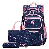 MLOPPTE 3 pièces / ensemble sacs d'école sac à dos cartable mode enfants beaux sacs à dos pour enfants adolescentes école étudiant deepblue