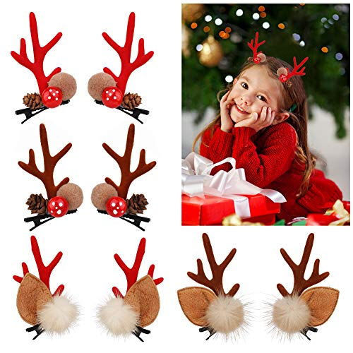 Christmas Hairpin Hair Clips Hairpin Hair Accessories for Cute Girl Reindeer Christmas Decorations Party Cosplay Costume 8 Pcs