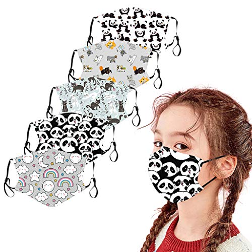 5 pcs Kinder Mundschutz Multifunktionstuch Cartoon Druck Mäske Animal Print Atmungsaktive Baumwolle Stoffmaske Waschbar Mund-Nasenschutz Staubdichter Bandana Halstuch Jungen Mädchen (F)