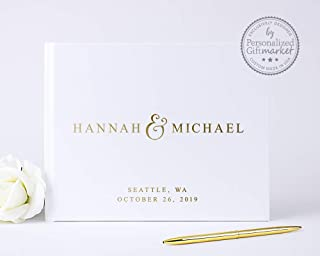 Personalized Wedding Guest Book, Custom Guestbook with Bride Groom Names with Embossed Gold Foil - Hardcover (10x8 inches)