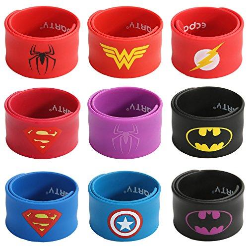 Ecparty Superhero Slap Bracelet for Kids Boys & Girls Birthday Party Supplies Favors (9 Pack) (62651)