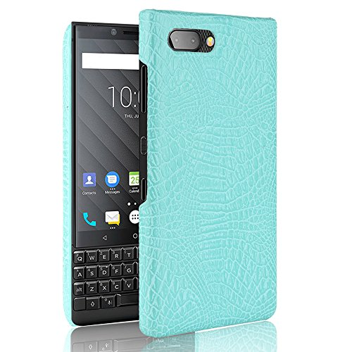 Armour Tough Style Luxury Classic Crocodile Skin Pattern [Ultra Slim] PU Leather Anti-Scratch PC Protective Hard Case Cover for BlackBerry Key2 / Keytwo Protective Hard Case (Color : Green)