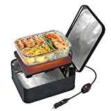 SabotHeat Portable Car Microwave - 12V40W Hot Plate Personal Oven with On/Off Switch for Reheating & Slow Cooker, Car Food Warmer Lunch Box for Work, Trip, Camping (Black)