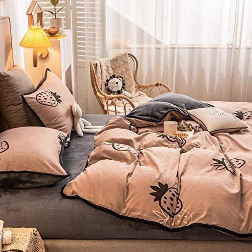 Winter Plüsch Bettwäsche Set 200x200,Herbst und Winter A Baumwolle B Samt Flanell...
