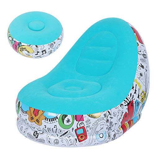 Xirfuni Sillón Inflable, sofá de Ocio, cómodo sillón de Ocio Transpirable Antideslizante con reposapiés para balcón, Sala de Estar(Macaron Blue, 116 * 98 * 83cm)