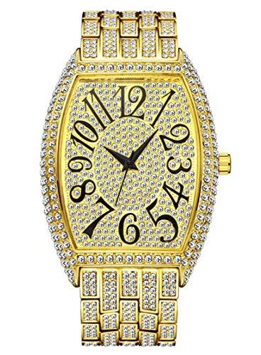 MLHXHX Herrenuhr, Mode-Diamant-Namde-Wein-Barrel-Typ Volldiamant-großes Zifferblatt-Quarz-Herrenuhr Gold