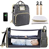 Diaper Bag Backpack, Baby Nappy Changing Bags with Bassinet 3 in 1 Multifunction Waterproof Travel Back Pack with Changing Station, Large Capacity, USB Charging Port for Girls Boys, Gray