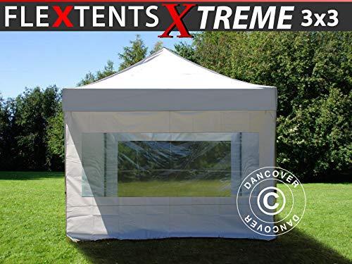 Dancover Faltzelt Faltpavillon Wasserdicht FleXtents Xtreme 50 3x3m Weiß, mit 4 Seitenwänden