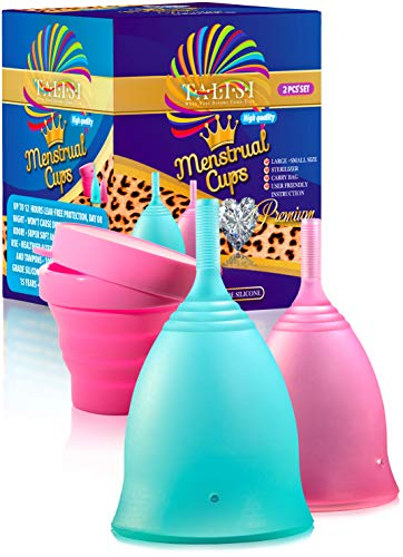 Talisi Soft Menstrual Cup Small and Large Size Set with Collapsible Sterilizer Case Holder - Flexible Feminine Cup Period for Women - Reusable Alternative Tampon and Pad - Regular Heavy Flow
