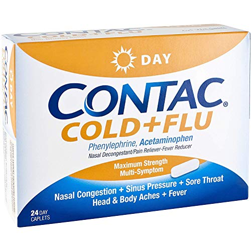 Contac Cold & Flu Non Drowsy Day Maximum Strength Caplets 24 ct (Pack of 4)