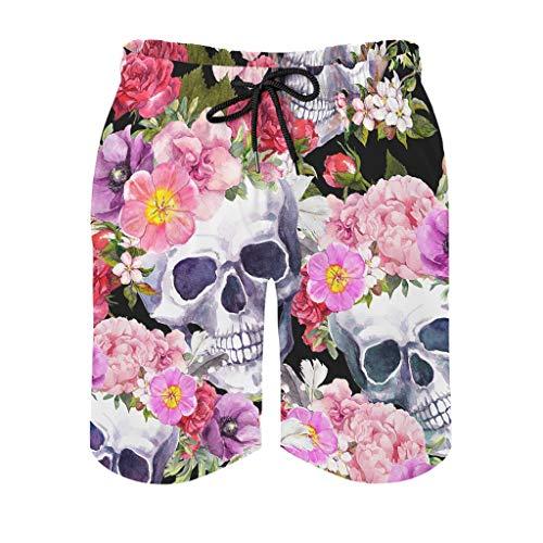 Generic Brands – Pantalones cortos de playa con diseño de cráneo, de secado rápido, para hombre, grandes y grandes, Primavera-verano 14., Hombre, color blanco, tamaño 6X-Large