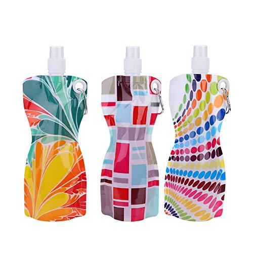 VGEBY 3 Stücke 580 ML Kunststoff Wasser Beutel, Falten Tragbare Getränke Flaschen Wiederverwendbare Trinkflaschen für Wandern Camping Radfahren Sport
