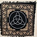 "New Age Imports, Inc. New Age Imports, Altar Tarot Cloth: Triquetra-24 x 24"" (Gold/Silver Triquetra/Charm Design) by, 24""x24"", Black"