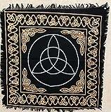 New Age Imports, Inc. Altar Tarot Cloth: Triquetra - 24' x 24' (Gold/Silver on Black Triquetra/Charm Design)