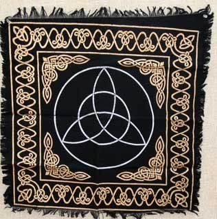New Age Imports, Inc. Altar Tarot Cloth: Triquetra - 24' x 24' (Gold/Silver on Black Triquetra/Charm Design)