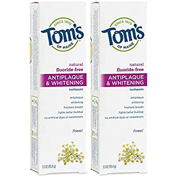 Tom s of Maine Fluoride-Free Antiplaque & Whitening Natural Toothpaste Fennel 5.5 oz 2-Pack