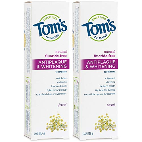 Tom's of Maine Fluoride-Free Antiplaque & Whitening Natural Toothpaste, Fennel, 5.5 oz. 2-Pack