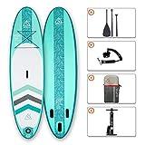 Tabla de Paddle Surf Hinchable Tabla Stand Up Paddle Board Rígida Doble Capa con Accesorios de Remo de Aluminio/Inflador/Leash/Mochila, Carga hasta 130 Kg, CL-G 10'6'*32'*6'
