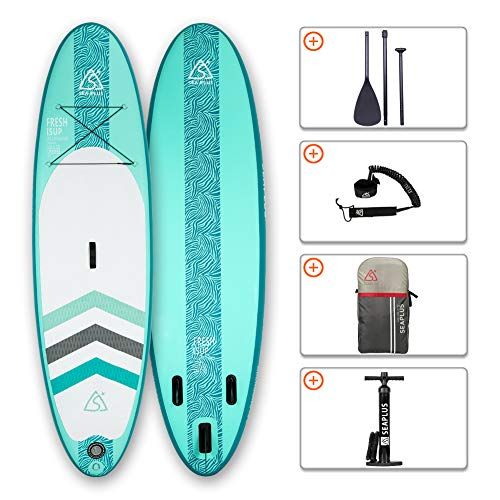 Tabla de Paddle Surf Hinchable Tabla Stand Up Paddle Board Rígida con Accesorios de Remo de Aluminio/Inflador/Leash/Mochila, Carga hasta 130 Kg, CL-G 10'6'*32'*6'