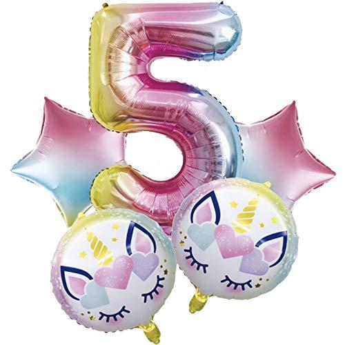 DIWULI, Juego de Globos, Globo número XXL número 5 + 2 Globos de Unicornio + 2 Globos de Papel de Aluminio para el 5º cumpleaños, Fiesta de cumpleaños de niños, Fiesta de Lemas, decoración