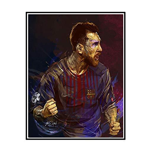 DrCor Carteles de Jugador de fútbol L-Messi Pinturas Impresas en Lienzo Arte de Pared Abstracto Deporte decoración del hogar -50x70 cm sin Marco 1 Uds