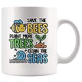 N\A Save The Bees Plante más árboles Clean The Seas Taza de Conciencia Ambiental Save Seas Taza de café Regalo, Taza de té del Día de la Tierra