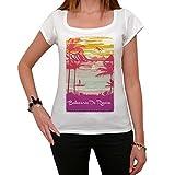 Balneario De Rincon, Escapar al paraíso, La Camiseta de Las Mujeres, Manga Corta, Cuello Redondo, Blanco