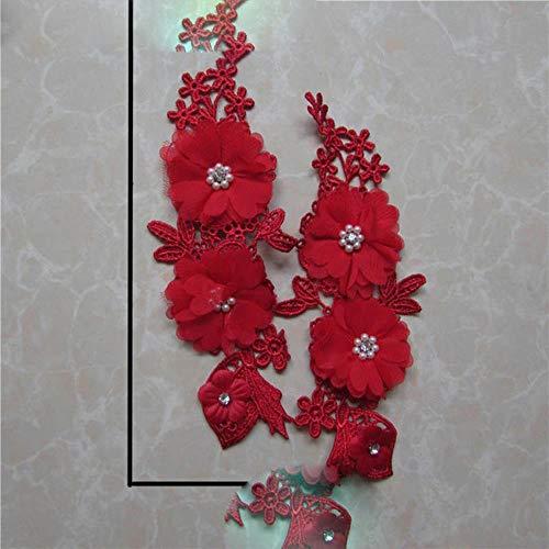 Bordado de encaje rojo apliques de costura vestido de tela con diseño de adorno de encaje DIY collar de encaje vestido de decoración de disfraces accesorios