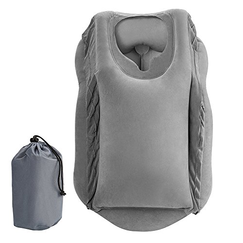 Interlink US Inflatable Travel Pillows for Airplanes Cars Buses Trains Office Napping Pillow (Gray)